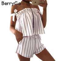 BerryGo Off Shoulder Stripe Elegant Jumpsuit Romper White Strap Backless Bow Overalls Sexy Summer Beach Playsuit