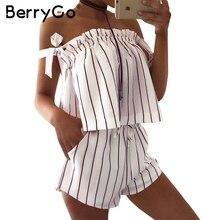 BerryGo С плеча полосы элегантный комбинезон комбинезон Белый ремешок спинки лук комбинезоны Сексуальная летний пляж playsuit женщины наряд