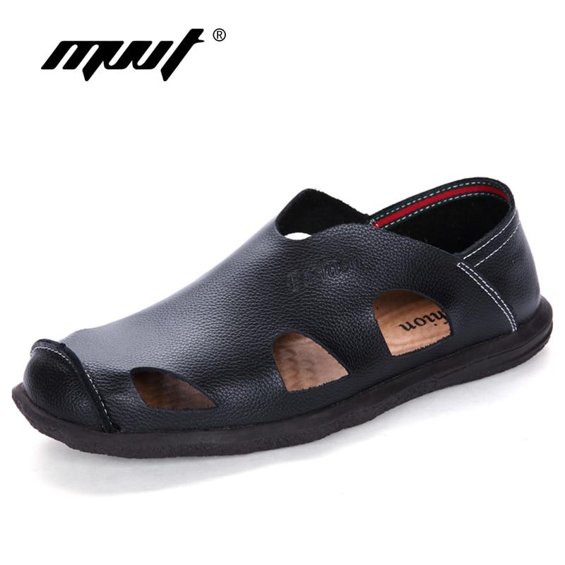 New 2018 Summer Shoes Men Sandals Split Leather Men's Beach Sandals Shoes Men Slippers Quality Outdoor Hollow Men Footwear