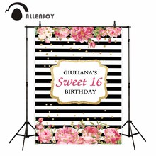 Allenjoy photo background flowers black and white stripes dots birthday party camera fotografica profissional for photographing