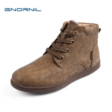 купить GNORNIL High Quality Men Winter Boots Casual Men Leather Plush Warm Lace-Up Leather Casual Fashion Martin Boots Size 38-44 по цене 1946.94 рублей
