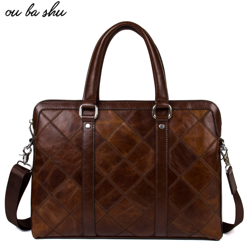 OU BA SHU Genuine Leather Bag Fashion Handbags Cowhide Men Crossbody Bags Men's Travel Bag Tote Laptop Briefcases Men Bags yishen genuine leather bag men bag cowhide men crossbody bags men s travel shoulder bags tote laptop briefcases handbags bfl 048