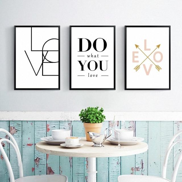 Koop haochu minimalistische nordic zwart wit love letters quotes canvas - Modulaire muur ...