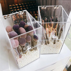 Transparent Acrylic Flip Makeup Brush Tube Dustproof Desktop Makeup Brush Storage Box