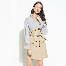 2019 new fake two-piece waist tie lapel stitching dress fashion striped double-breasted temperament womens clothing