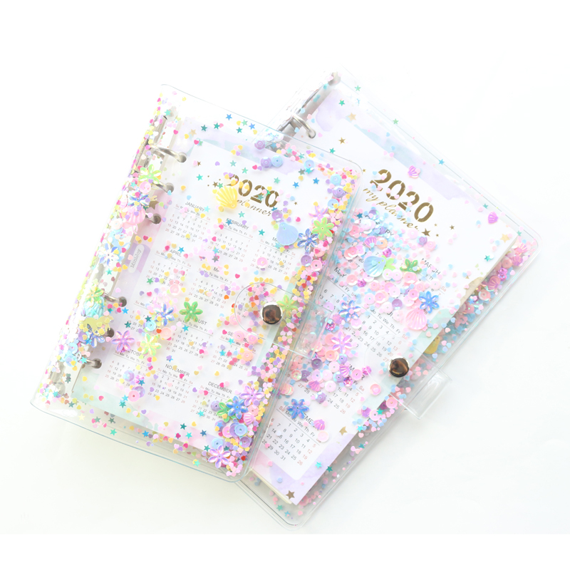 Domikee Cute Transparent PVC Sequins Cover Office School 6 Rings Binder Spiral Planner Agenda Organizer Notebooks Stationery
