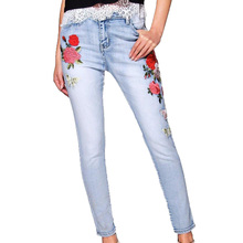 2017 summer season trousers girls informal pencil excessive waist denims embroidered denims girls slim denim pants girls