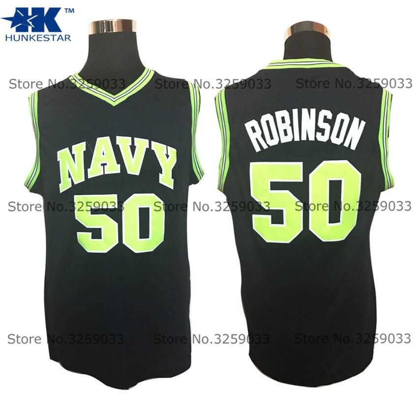 Мужские #50 Дэвид Робинсон Джерси Колледж темно-Усна Винтаж возврат Баскетбол Джерси человек корзина Униформа прошитой trikots