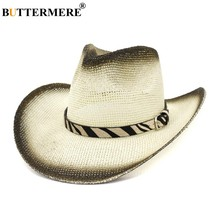 BUTTERMERE Panama Straw Hats Women Off-white Sun Hat Cowboy Ladies Zebra Pattern Belt Large Brim Female British Summer Beach Hat(China)