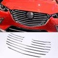 Для Mazda CX-3 2018 10 шт. ABS Хромированная передняя решетка для гриля декоративная накладка для автомобиля Стайлинг Аксессуары гарантия качества
