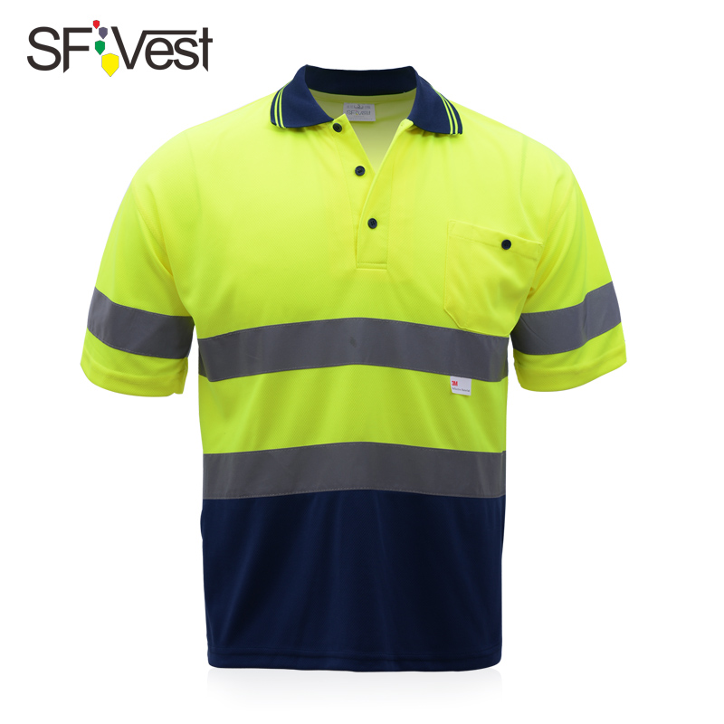 SFVest High visibility reflective safety polo tshirt two tone breathable fabric short sleeve fluorescence yellow high visibility
