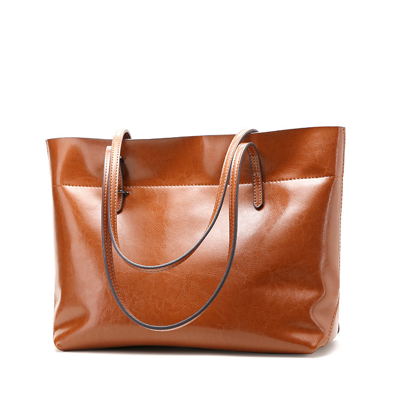 100% genuine leather women handbag New classic casual ladies patchwork real leather Large capacity shoulder tote bags Brown GZQS new 2018 classic casual patchwork tote popular women canvas