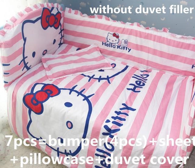 ¡ Promoción! 6/7 UNIDS Hello Kitty Cuna Bumpers Hoja de Cama Edredón conjunto Cubierta, 120*60/120*70 cm