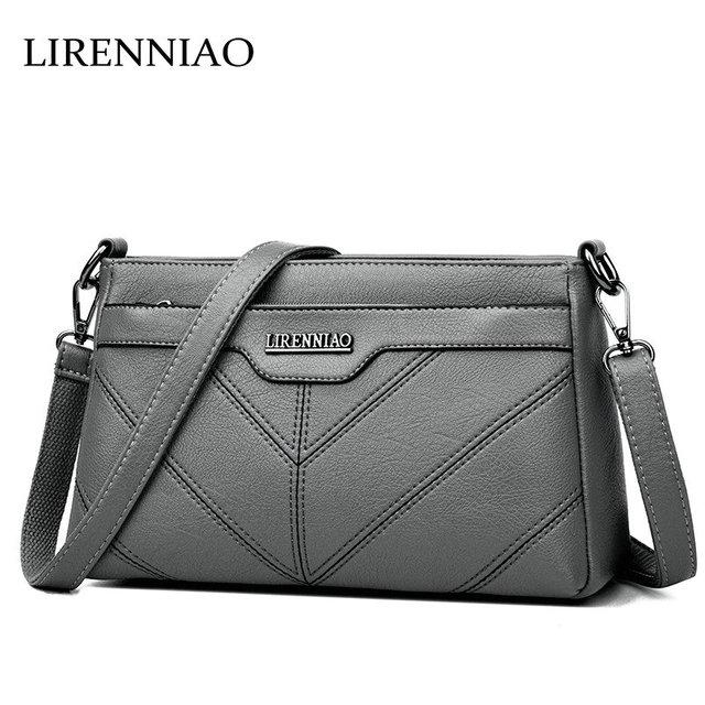 34ec5f41749e LIRENNIAO Korean Suede Bag Cow Leather Women Thread Design Messenger Bag  CrossBody Bag Lady Handbag Causal