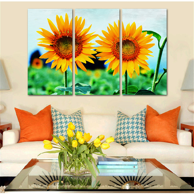 Wholesale Drop Shipping Canvas Painting Sunflower Landscape Modern Printing Home  Decor Wall Art Poster Modular