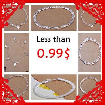 Perder dinheiro promoção Moda 925 carimbado banhado a prata pulseiras finas 0.99 $10 estilos Fábrica de Preços Por Atacado estoque limitado