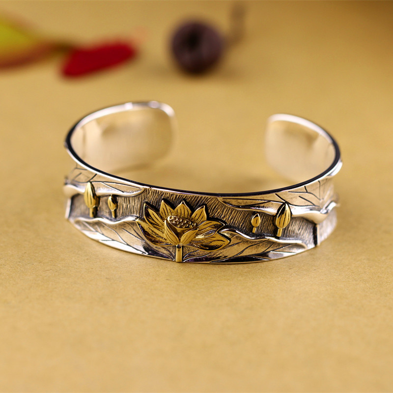 Ethnic High Quality Authentic 999 Sterling Silver Buddhist Lotus Heart Bangle & Bracelet Luxury Jewelry authentic luxury