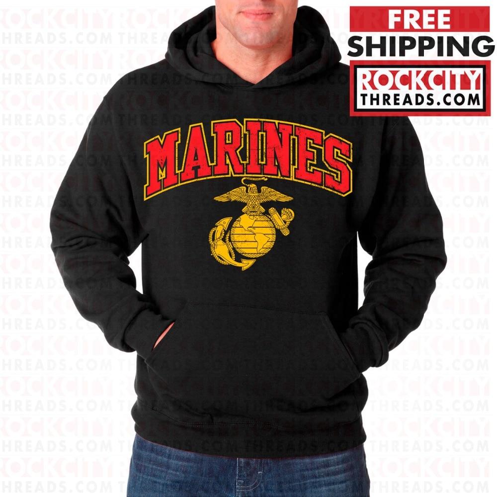 2019 Fashion Man Hoodies USMC MARINES ARCHED HOODIE BLACK Sweatshirt Marine Corps Pullover Semper Fi US Sweatshirt