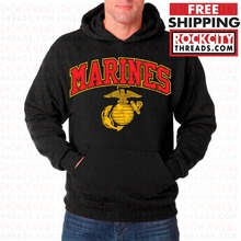 2019 fashion man Hoodies USMC MARINES ARCHED HOODIE BLACK Sweatshirt Marine Corps Pullover Semper fi US