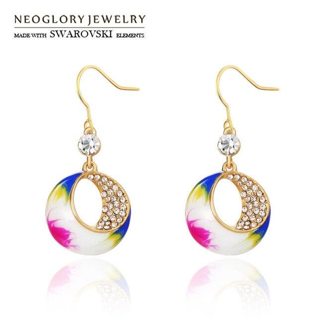 Neoglory Austria Rhinestone   Enamel Long Dangle Earrings Colorful Design  Light Yellow Gold Color Glaring Jewelry For Girls bee41c3fda1d