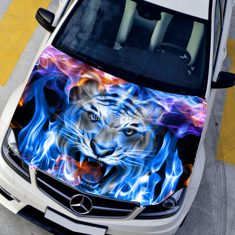 Car Styling Hd Inkjet Blue Flame Angry Tigers Hood