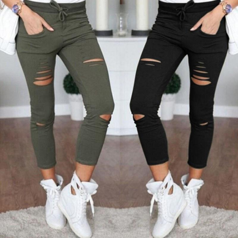 3 Colors Female Trousers Women Hole leggings Ripped Pants Slim Stretch Drawstring Trousers Pants Army Green Pants