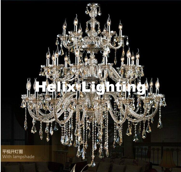 Frete Grátis D1500mm H2000mm 35L K9 Champanhe cristal Luxo luz lustre de Cristal moda Top Grade K9 Iluminação Lustre