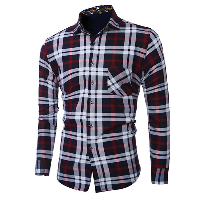 2017 Autumn Winter New Vintage Plaids Top Long-Sleeved Thicken Cotton Fleece Lined Slim Fit Casual Men's Shirts Plus Size L-5XL