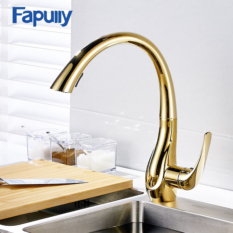 Fapully Kitchen Faucet Pull Out Golden Plate All Around Swivel Spout Hot and Cold Spray Head Kitchen Taps Mixer 166-33G