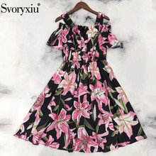 Svoryxiu Runway New Summer Cotton lily Flower Print Dress Women's Casual Holiday Off Shoulder Spaghetti Strap Dress