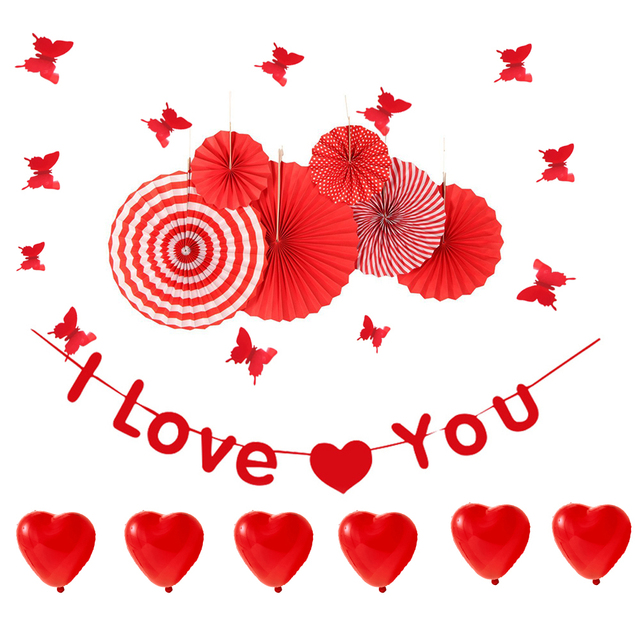 Red Theme Romantic Valentines Day for I LOVE YOU Party Decorations ...