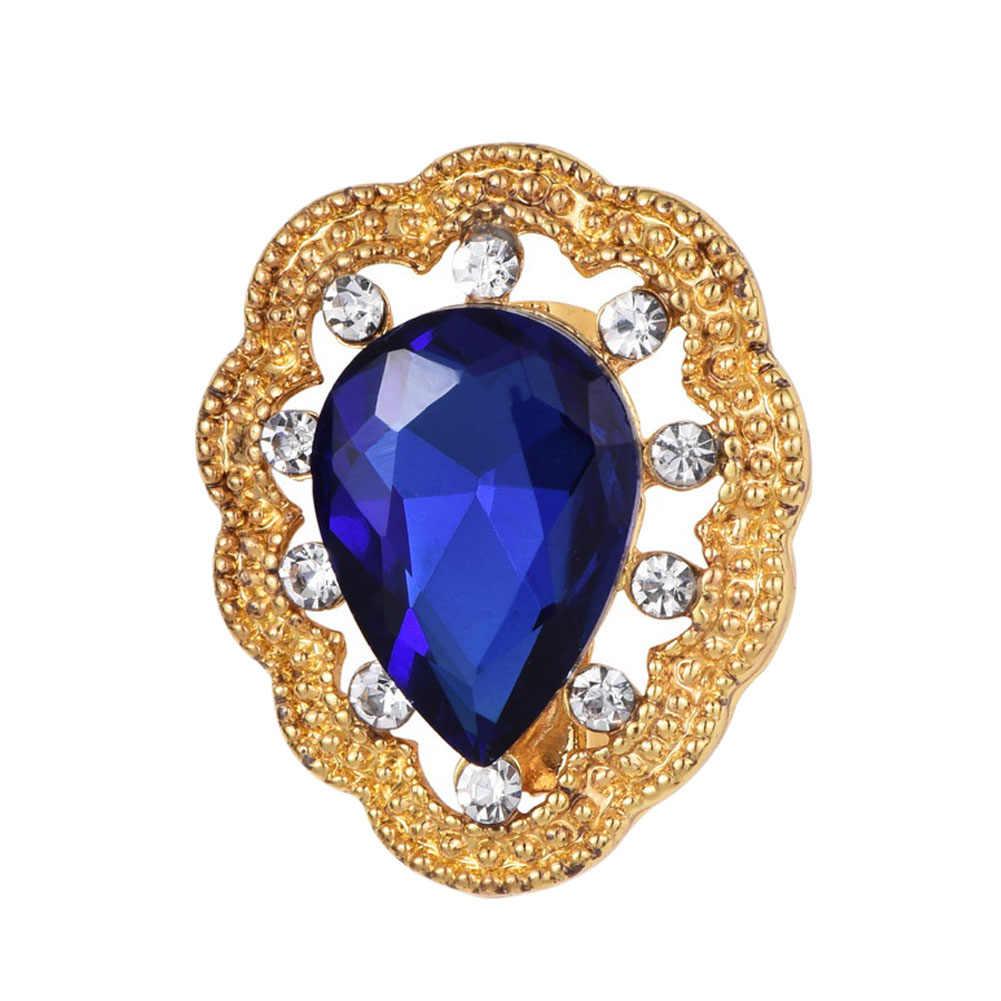 Vintage Tetesan Air Biru Kristal Rhinestone Bros Wanita Perhiasan Aksesoris Bunga Pin