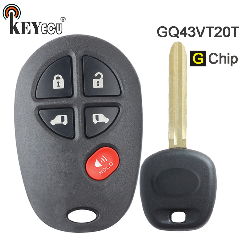 KEYECU  G Chip FCC ID: GQ43VT20T Replacement 4+1 5  Button Remote Car Key Fob for Toyota Toyota Sienna 2011 2012 2013 2014 2015