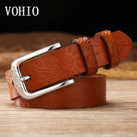VOHIO Womens Belts Large Size Genuine Leather Fashion Lady Embossed Set Auger Obi Brown 130cm Antique