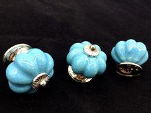 UNILOCK 5 Pcs Novo design Único superfície Haplopore Abóbora Cerâmica Puxadores Maçaneta Da Porta Lida Com O Parto de crack Gelo Azul Puxador de Gaveta