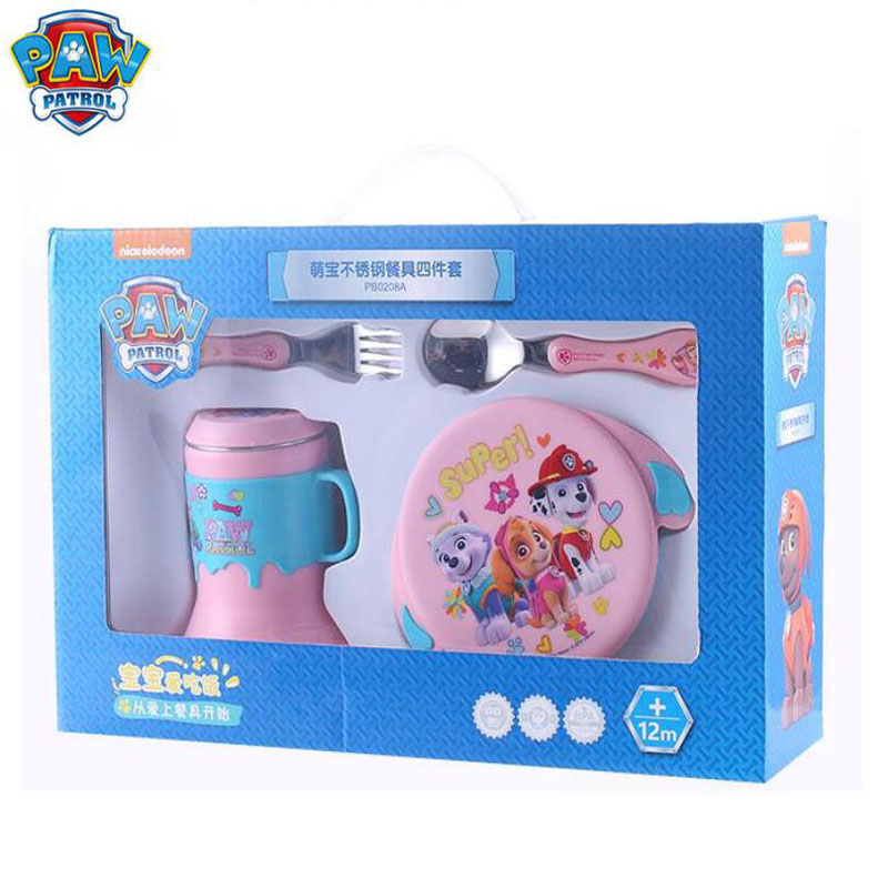 Genuine Paw Patrol 350ML Bowl+15cm Folk Spoon+260ml Horn Cup 304 Stainless Steel Dinnerware Toy Sets Children Gift Original Box