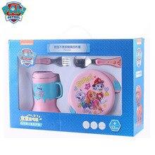 Genuine Paw patrol 350ML bowl+15cm Folk spoon+260ml horn cup 304 Stainless Steel Dinnerware toy Sets Children gift original box