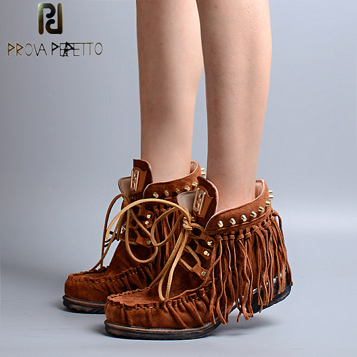 Prova Perfetto Euramerican Narrow Band Fringe Ankle Boots Pleated Round Toe With Metal Rivets Studded Lace Up Short Boots Flats