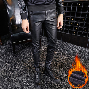 Image 5 - Men Printed Leather Pants Winter Fleece Warm PU Leather Casual Trousers High Quality Long Thicken Elastic Skinny Pencil Pants