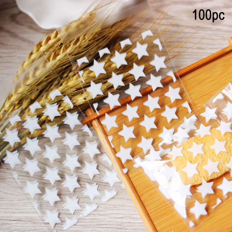 100pcs Clear Star Candy Cookie Bags Wedding Birthday Party Craft Self Adhesive Food Grade Plastic Biscuit Packaging Gift Bag