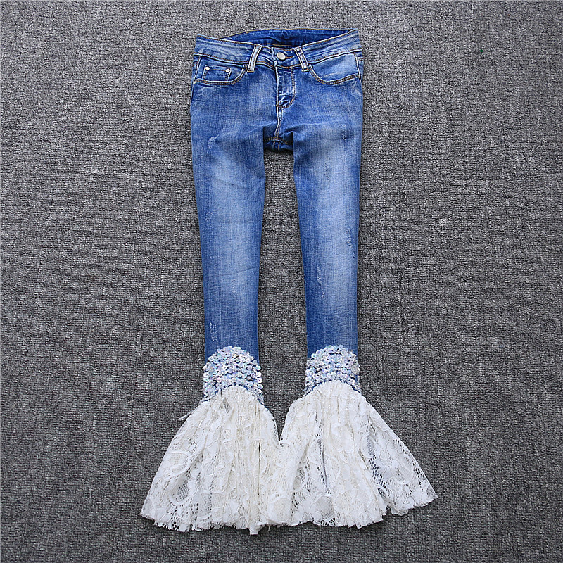 2019 new arrive sequins bling bling lace patchwork jeans 194936b6959e