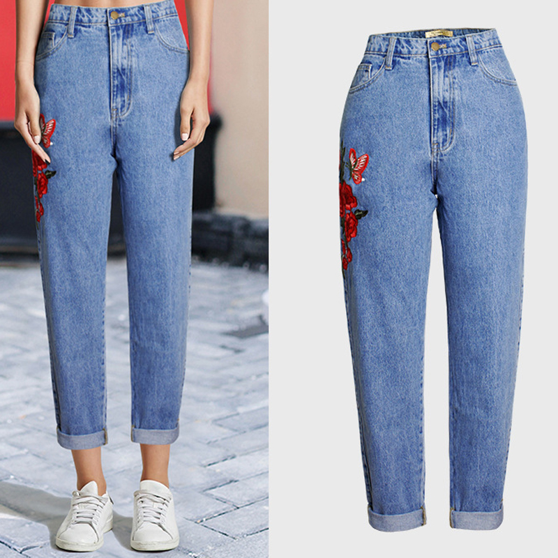 Womens High Waist Jeans XXXL Plus Size Brand Designer Boyfriend Jeans Women Rose Flower Pattern Straight