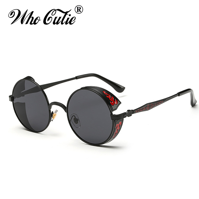824d5f429d WHO CUTIE 2018 Celebrity Round Steampunk Sunglasses Men Women Metal Frame  Circle Clear Lens Gothic Punk Sun Glasses Shades OM351