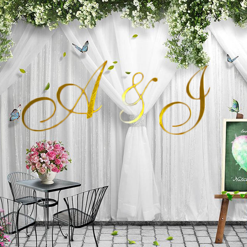 Personalized Mirror Gold Initial Name Sign Wedding Wall