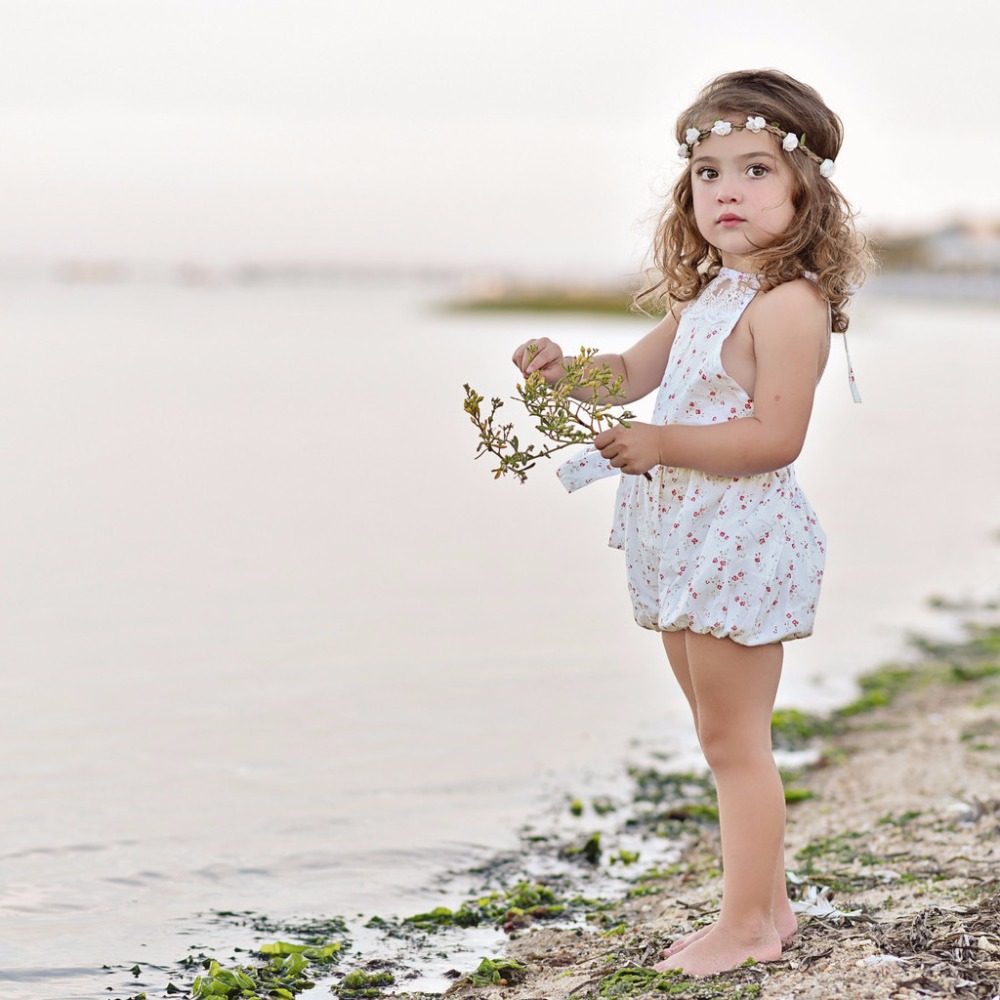 Infant Girl Clothes 1 Pcs Backless Lace White Small Floral Printing Sleeveless Top Casual Cute Toddler Summer Baby Girl Rompers