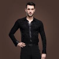 2016 Latin Dance Dress New Male Three dimensional Pattern Latin Dance Samba Square Shirt Adult Man Long sleeve Competition Wear