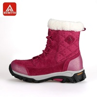 HUMTTO Snow Boots Women Winter Outdoor Genuine Leather Fur Plush Female Boots High Cut Lace-up Keep Warm   Hiking     Shoes
