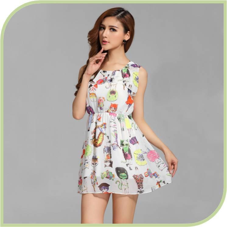 7fee82a14267 2015 Summer Girls Slim Casual Fluorescence Cat Print Chiffon Dress Women  Fitted Big Plus Size Stylish Cat Print Tank Dress D068-in Dresses from  Women s ...