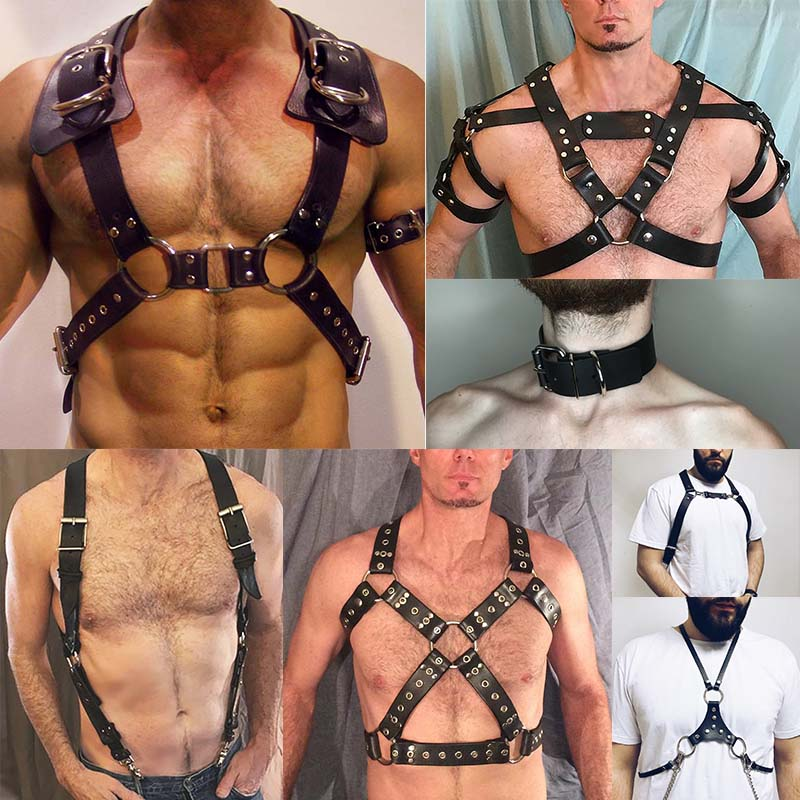 Fashion Leather Harness Men Bondage Belt  Adult Game Adjustable Body Chest Crop Punk Armors Buckles Top Suspender Male Garter