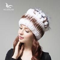 Female Hats 100% Rex Rabbit Fur Women Vintage Flower Top Casual Solid Knitted Caps Skullies Beanies Bonnet Femme